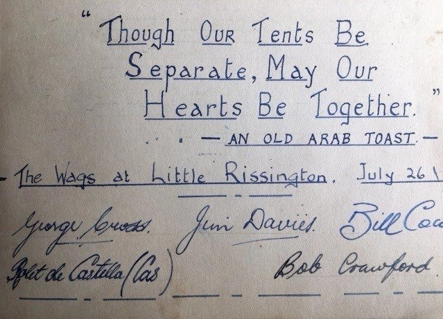 """Page of signatures from """"The Wags at Little Rissington"""" ca. World War Two."""