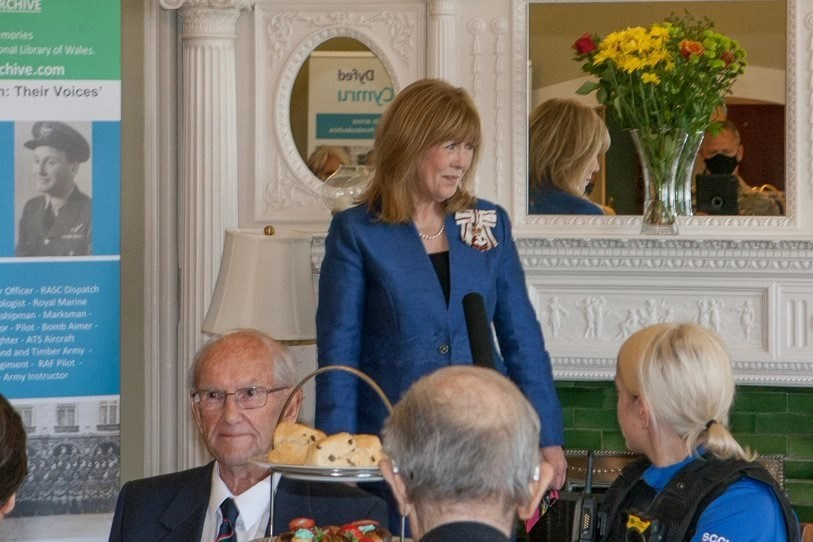 """Lord Lieutenant of Dyfed, Sara Edwards, speaking at """"Our Greatest Generation,"""" an Age Cymru Dyfed event commemorating the 77th anniversary of D-Day. June 6th, 2021."""