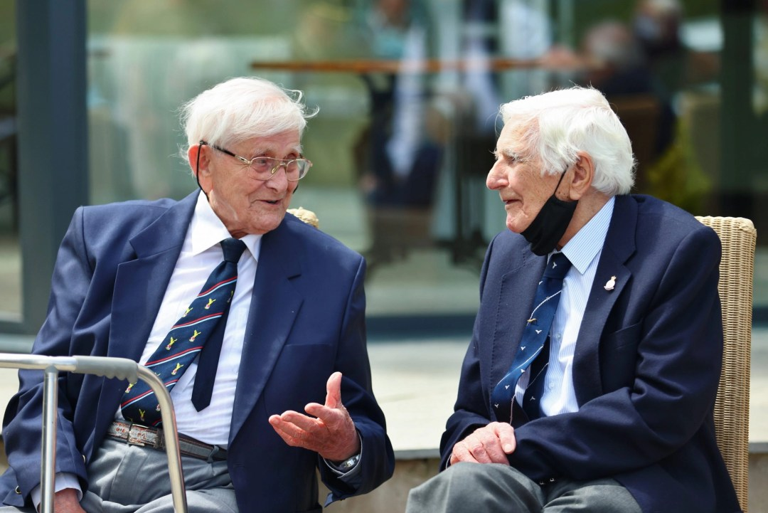 """Stan Bartlett and John Martin, sit talking at """"Our Greatest Generation,"""" an Age Cymru Dyfed event commemorating the 77th anniversary of D-Day. June 6th, 2021."""