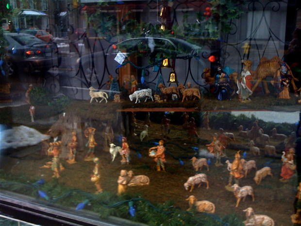 Delightful, eclectic crèche in window of Frank's Tailoring, on Dovercourt