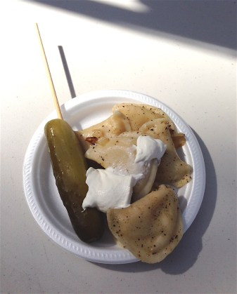 My delicious brunch: pierogies and a great dill pickle! (photo by Heather Cunningham)