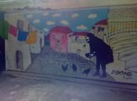 "garage door version of Francesco Gallé's ""Black Skirt"" mural - so nice to see it and meet him."