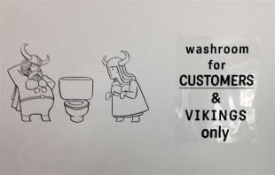 amusing WC signage at Thor Espresso Bar