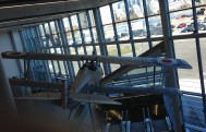 replica of one of Billy Bishop's fight planes hangs in airport lobby
