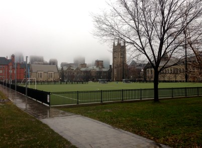 Foggy downtown through U of T campus and past Soldiers' Tower