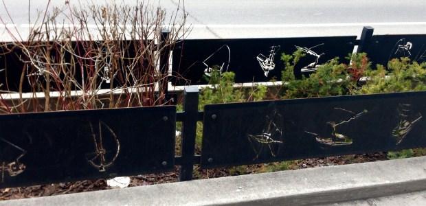 Fort York Blvd fences have cut-outs of area's larger public sculptures!