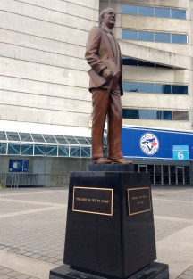 """To add to our list of """"bronze portraits spotted on walks""""... Ted Rogers. We didn't clown around with this one. But I could have mentioned my current enormous Rogers bill..."""
