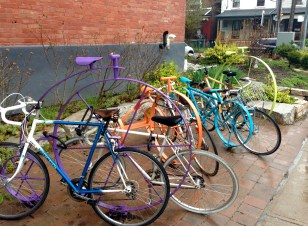 Another colourful bike-rack, across the street