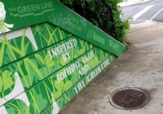 """Credits to Green Line initiative - and, of course, thanks to amazing muralist, Roadsworth (who did sign... bottom left, other side of the road! Zoom in, left of the """"taxi""""!)"""