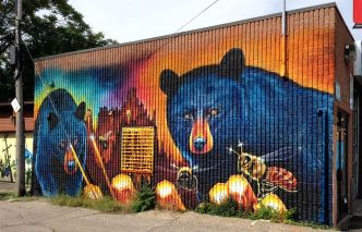 We find our destination: Frank Kovac Lane and Nick Sweetman's delightful bears and honey mural.