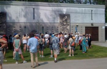 Some of the walking crowd at the art storage building