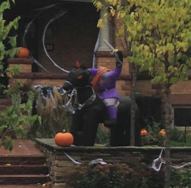 Oh my! These inflatable decorations are wild! Here's the Headless Horseman on his fiery steed!