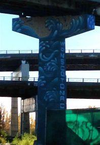 Tall, tall Don River/Wonscotonach (original Aboriginal name for the River) pillar by Jason Botkin