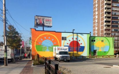 The new Parkdale murals on Queen: The Parkdale Solidarity Flag, by PA System and Sean Martindale.