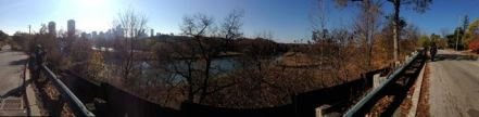Panorama, looking south to north along the river near the marshes - Veronika and Anna are in this shot, far apart!