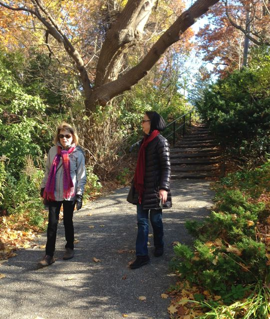 Julie and Anna on a path between two streets in little Brulé Terrace neighbourhood.