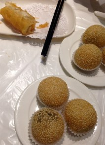 Rol San dim sum: delicious black sesame balls. Delivered second, but eaten last!