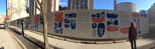 Panorama: Barbara at west side of The Ward photographic hoardings - so many more stories.