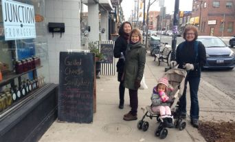 Anna, Julie, Claire and Barbara.. and one of the delightful sidewalk signs we kept (literally) bumping into.