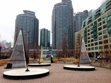 The final Ice Breakers installation: Leeward Fleet by RAW (design/architectural studio) - in Canada Square Park beside Queen's Quay Terminal