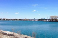 CN Tower appearing to extend the little Mimico lighthouse (larger Mimico lighthouse near left)