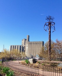 Music Gardens maypole and the malting silos in the distance