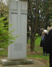 Prospect Cemetery: 1957 Quebec airline disaster monument. The young lady in the toque is a cemetery employee who joined us for the walk.