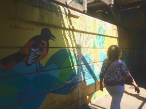 Jan crosses under the rail bridge - nifty murals there!