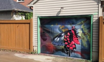 great new garage murals, east of Ossington - Garrison Creek Park/lane - this one is by Smug