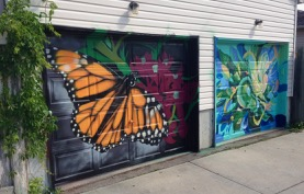new lane garage door murals (all about pollinators) Garrison Creek Park laneway - WOW!!! work here by Braes and Chris Perez. Gorgeous.