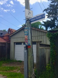 Helen Porter Lane (named in honour of the late Toronto storyteller) and Kenwood Art banner
