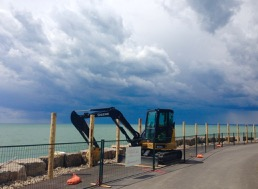 Trillium Park - along the lakeshore, there is a fire pit, but we were very distracted by the wild skies to the west! Construction continues...