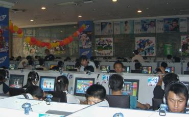 Chinese people in an internet cafe in Taiyuan