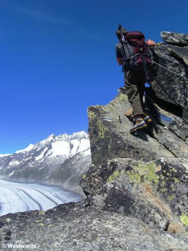 woman on a via ferrata above the Aletsch Glacier