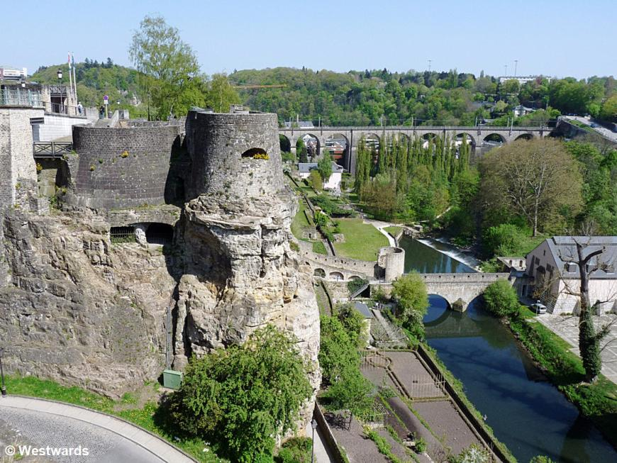 River and bastions in Luxembourg city