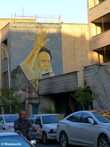 wall painting of Ayatollah Khomeini in Tehran