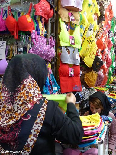 underwear and bras in the Tehran bazaar