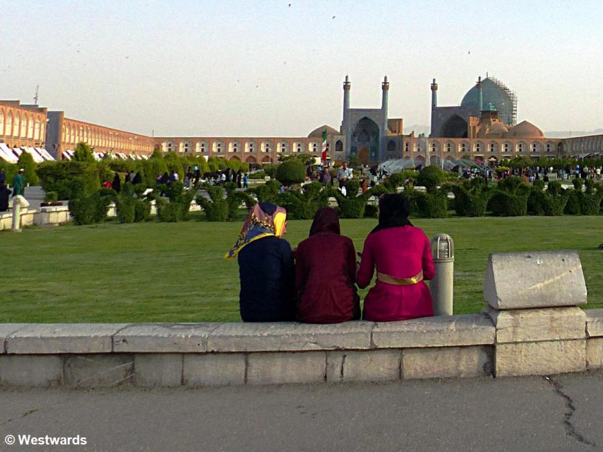 women on Isfahan's Naqshe Jahan Square
