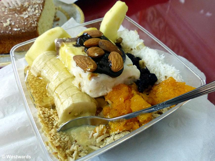 desert with fruits and almonds