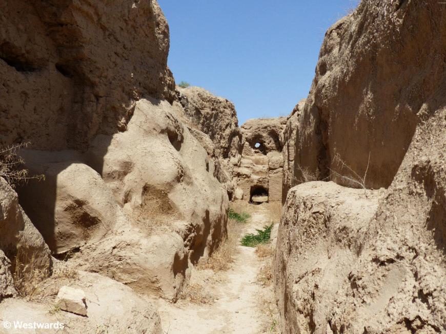 corridor between the crumbling ruins of Old Nisa