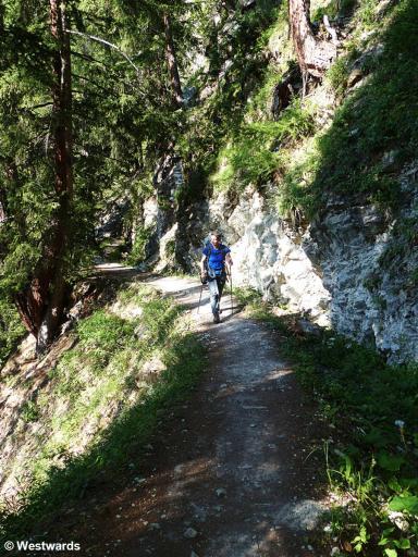Woman hiking the Haute Route near Nendaz