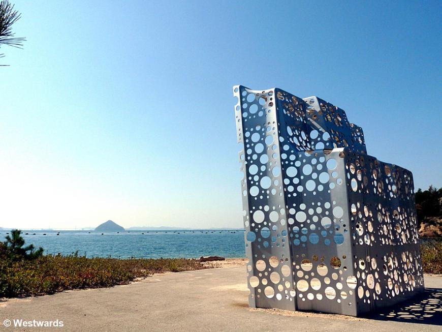 metal artwork on Naoshima island