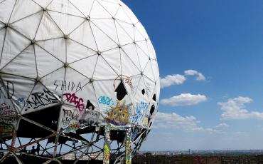 The torn top of the Teufelsberg surveillance station