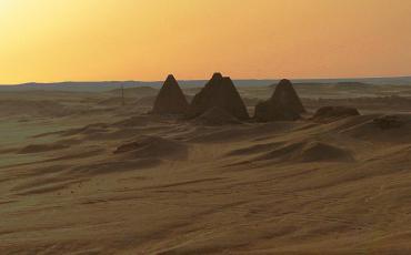 Pyramids of Jebel Barkal at sunset