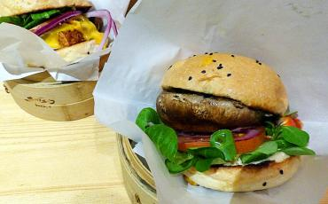 Vegetarian burger in a bamboo basket