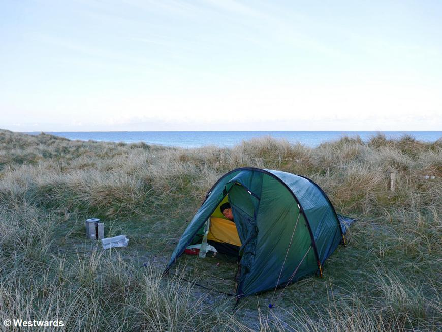 Wild camping in the dunes on South Uist