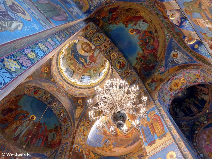 Colorful ceiling of the Church Saviour on Spilled Blood, a sightseeing highlight in St Petersburg