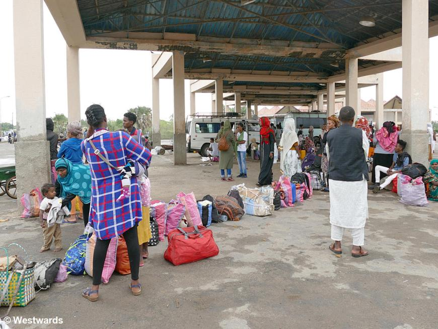 Queue of Erirtrean travellers at the bus station in Masawa
