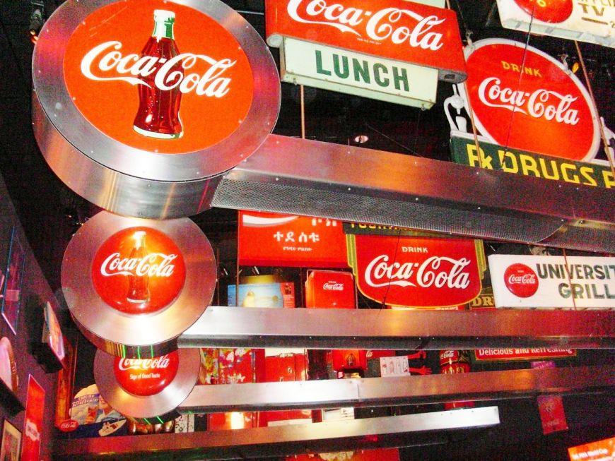 Coca Cola signs at the Coca Cola museum in Atlanta