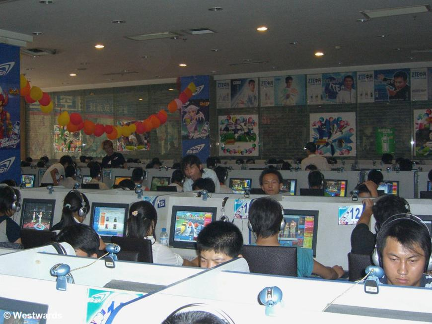 Gamers rather than bloggers in an Internet cafe in Taiyuan